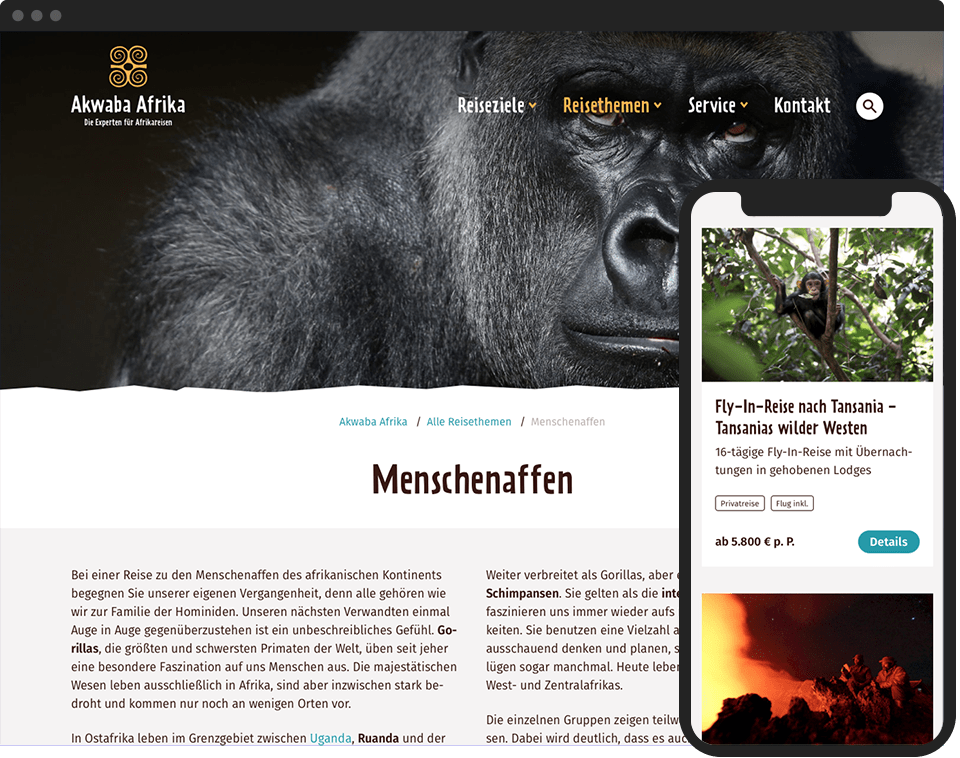 Desktop- and mobile view of the website for Akwaba Afrika