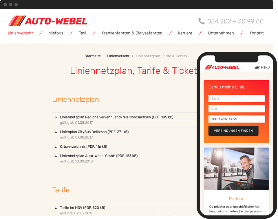 Desktop- and mobile view of the website for Auto-Webel GmbH