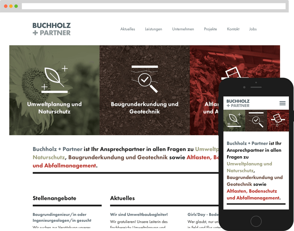 Desktop- and mobile view of the website for Buchholz & Partner