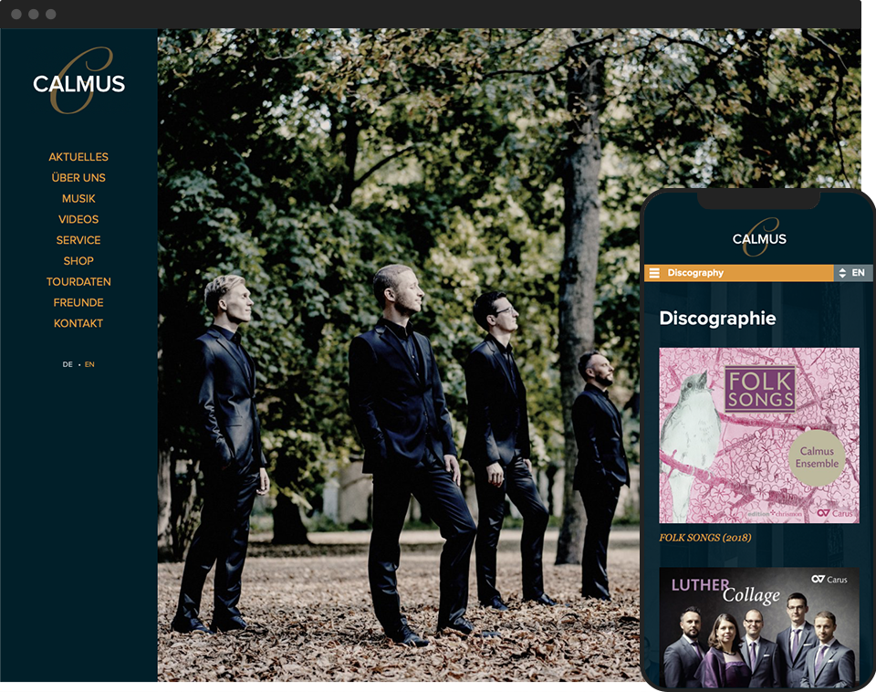 Desktop- and mobile view of the website for Calmus Ensemble