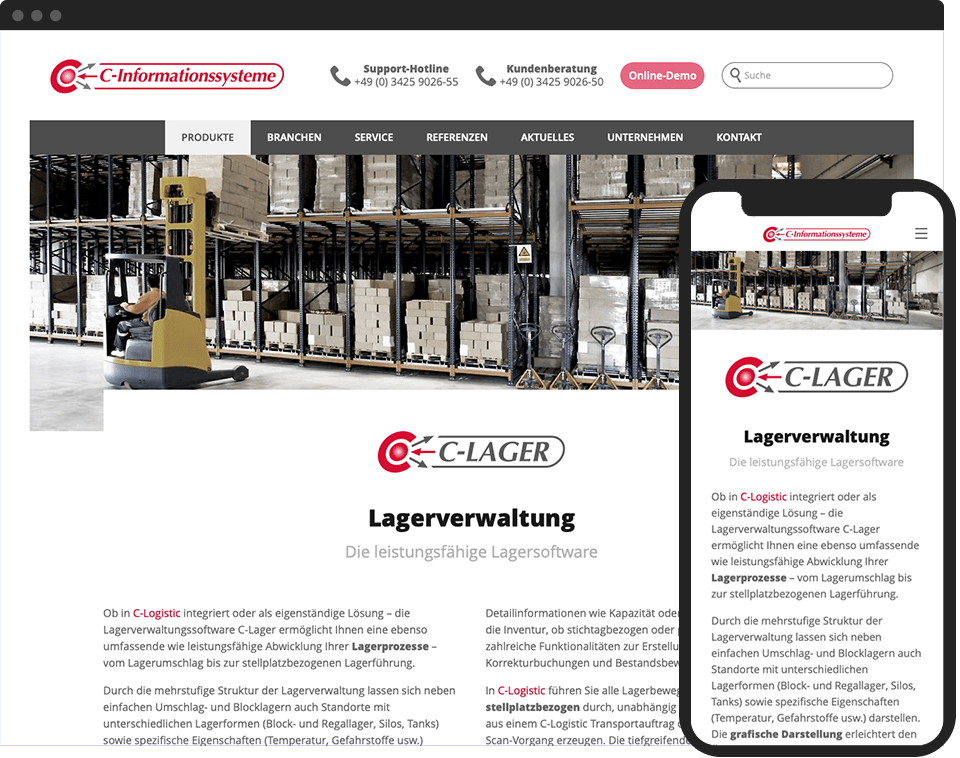 Desktop- and mobile view of the website for CIS Wurzen