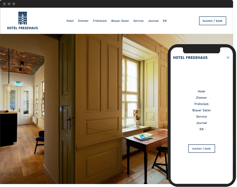 Desktop- and mobile view of the hotel website for Hotel Fregehaus in the centre of Leipzig