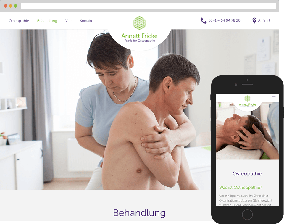 Desktop- and mobile view of the website for Osteopathie-Praxis Fricke