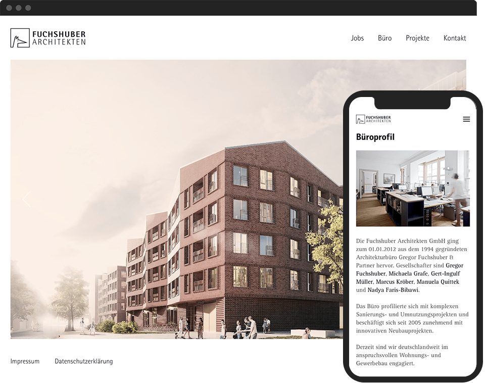 Desktop- and mobile view of the website for Fuchshuber Architekten