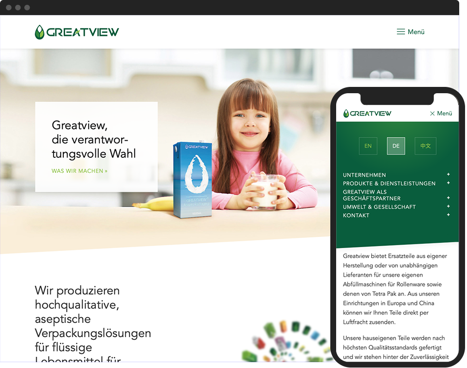 Desktop- and mobile view of the website for Greatview