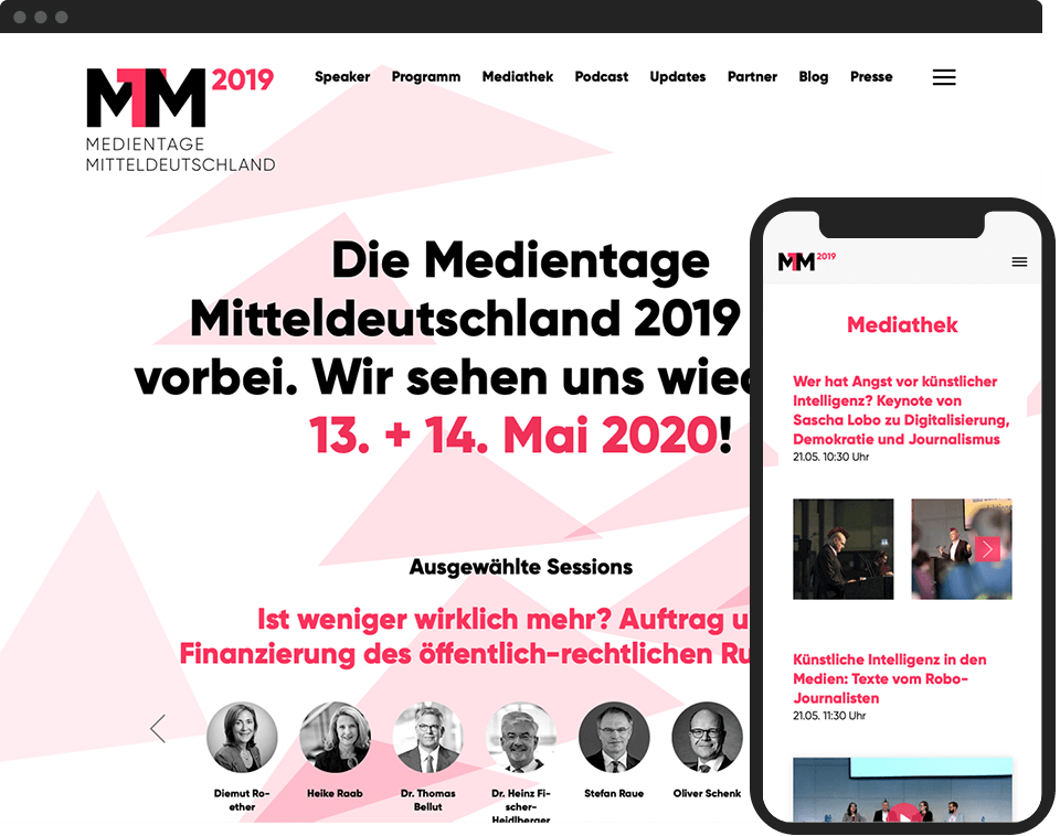 Desktop- and mobile view of the website for Medientage Mitteldeutschland