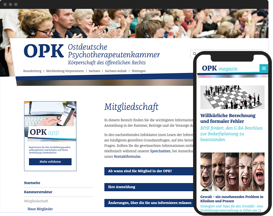 Desktop- and mobile view of the website for OPK info and OPK magazin