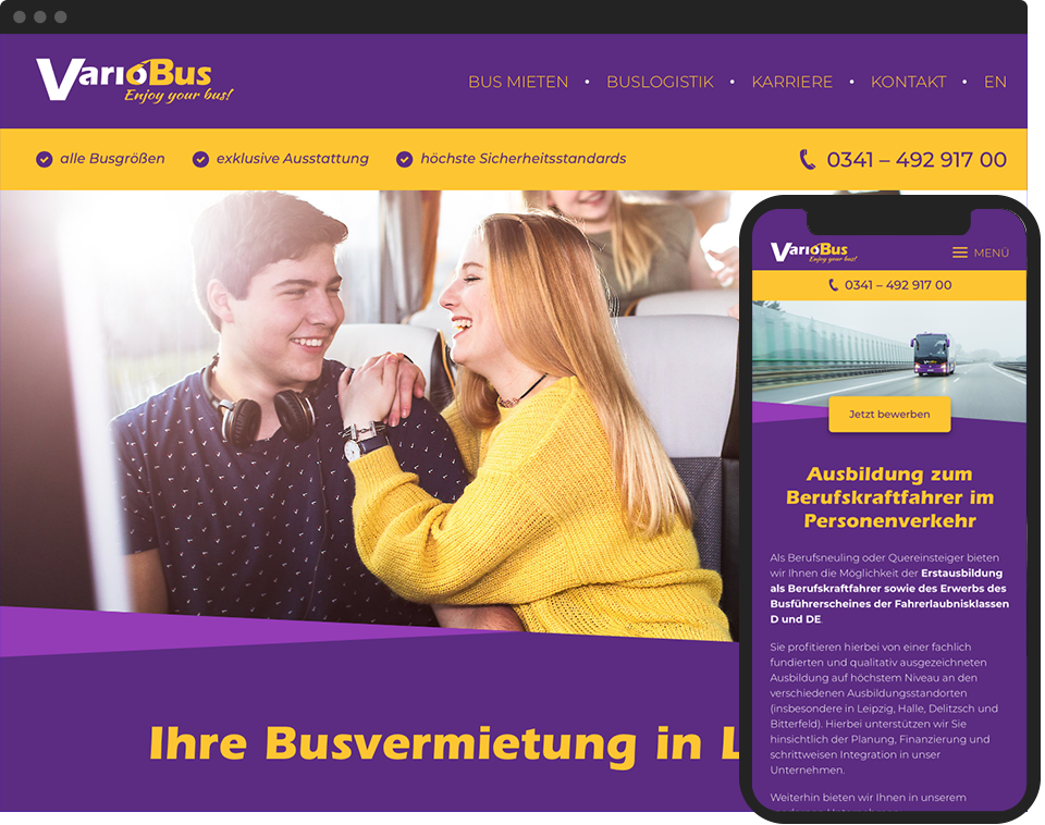Desktop- and mobile view of the website for VarioBus GmbH