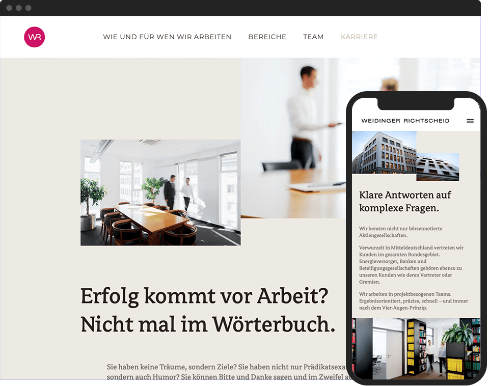 Desktop- and mobile view of the website for Weidinger Richtscheid